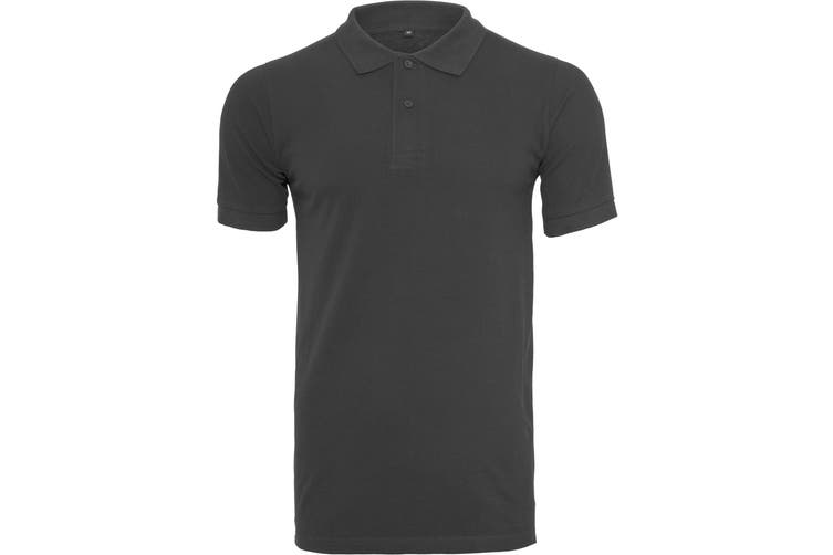 Build Your Brand Mens Pique Fitted Polo Shirt (Black) (S)