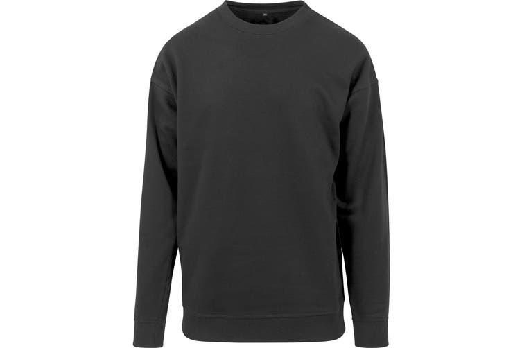 Build Your Brand Mens Crew Neck Plain Sweatshirt (Black) (2XL)