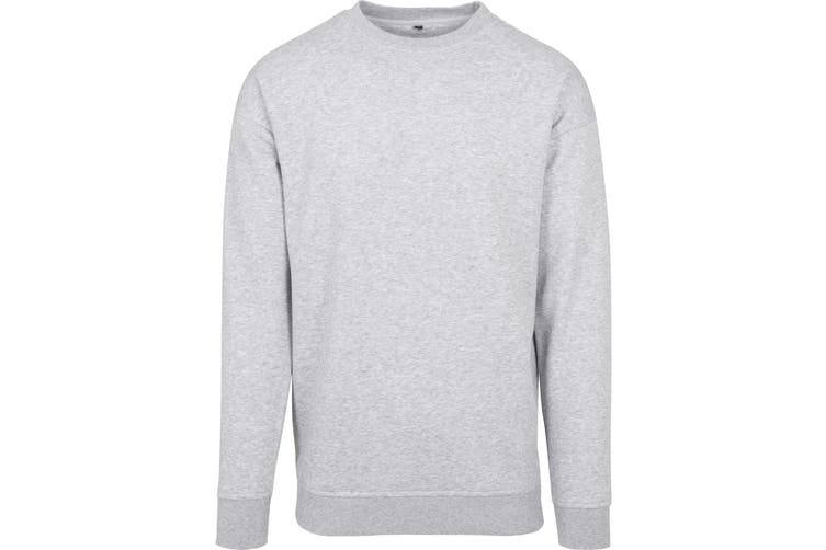 Build Your Brand Mens Crew Neck Plain Sweatshirt (Grey) (XL)