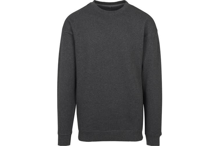 Build Your Brand Mens Crew Neck Plain Sweatshirt (Charcoal) (M)