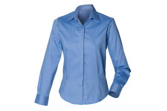Henbury Womens/Ladies Long Sleeve Oxford Fitted Work Shirt (Corporate Blue) (2XL)