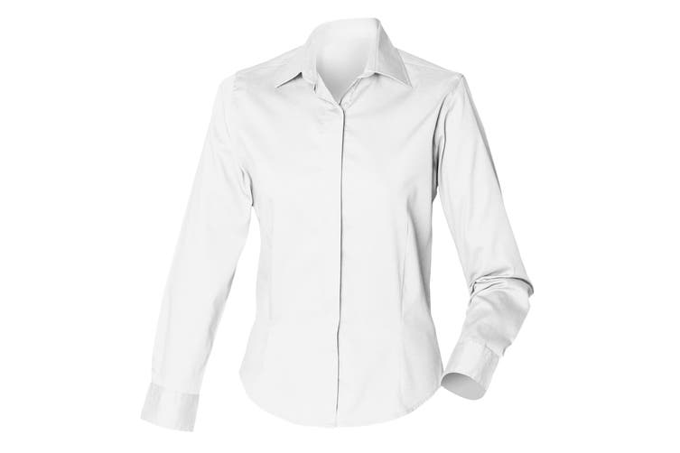 Henbury Womens/Ladies Long Sleeve Oxford Fitted Work Shirt (White) (S)
