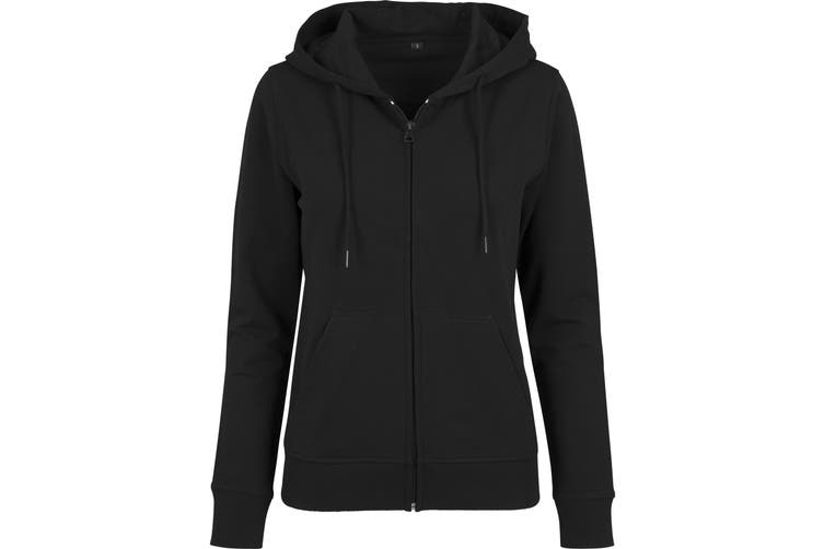 Build Your Brand Womens/Ladies Terry Zip Hoodie (Black) (L)