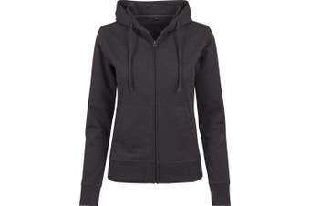 Build Your Brand Womens/Ladies Terry Zip Hoodie (Charcoal) (XS)