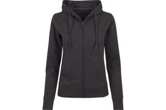 Build Your Brand Womens/Ladies Terry Zip Hoodie (Charcoal) (XL)