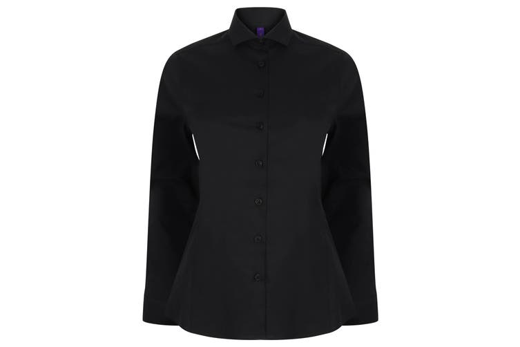 Henbury Womens/Ladies Long Sleeve Stretch Shirt (Black) (XXL)
