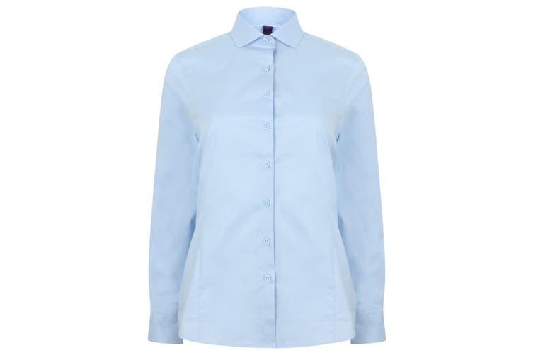 Henbury Womens/Ladies Long Sleeve Stretch Shirt (Light Blue) (L)