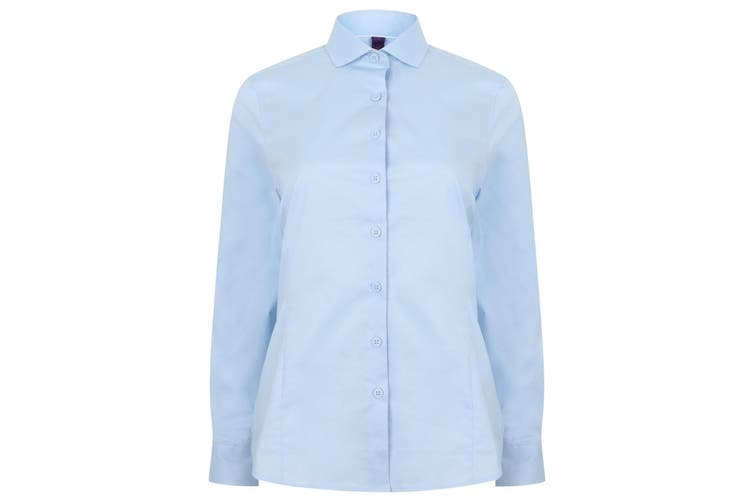 Henbury Womens/Ladies Long Sleeve Stretch Shirt (Light Blue) (XL)