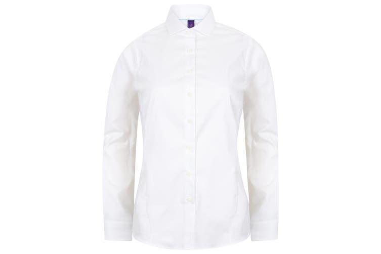 Henbury Womens/Ladies Long Sleeve Stretch Shirt (White) (XXL)