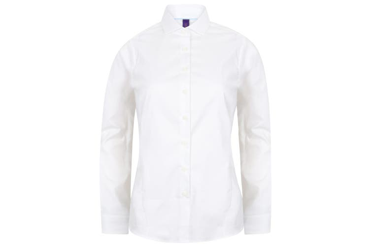Henbury Womens/Ladies Long Sleeve Stretch Shirt (White) (XS)