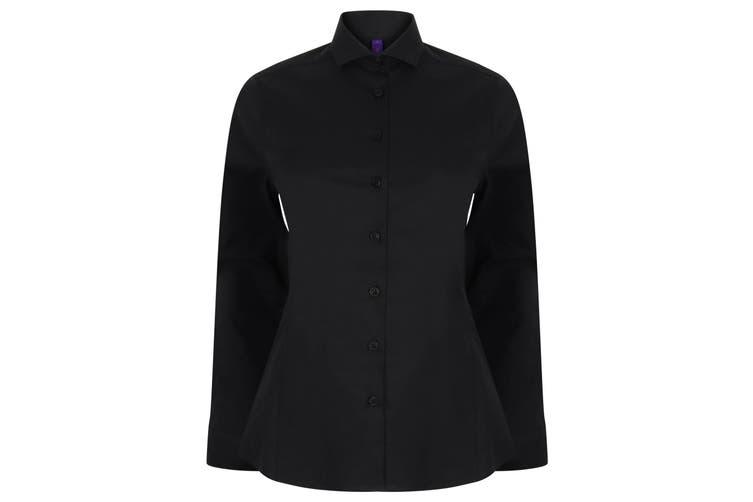 Henbury Womens/Ladies Long Sleeve Stretch Shirt (Black) (XL)