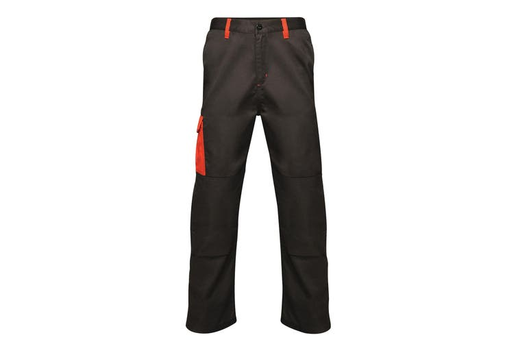Regatta Mens Contrast Cargo Work Trousers (Black/ Classic Red) (34S)