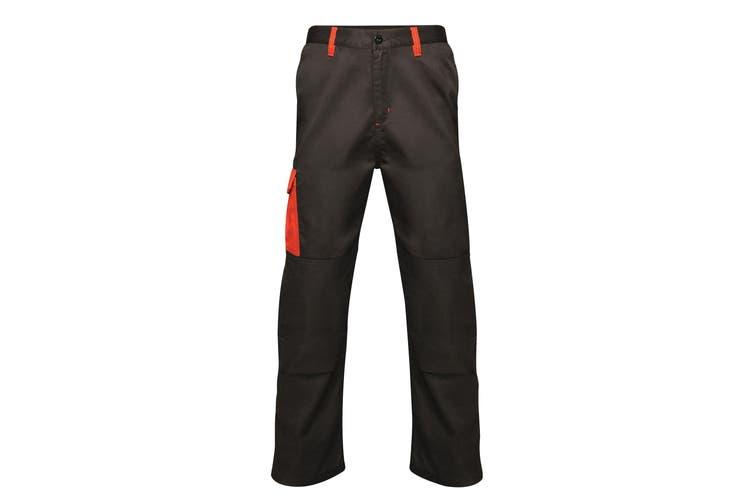 Regatta Mens Contrast Cargo Work Trousers (Black/ Classic Red) (28S)