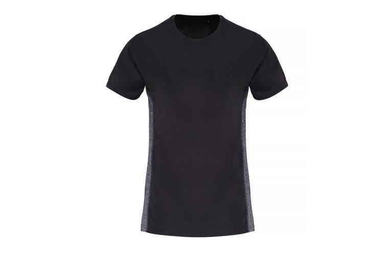 TriDri Womens/Ladies Contrast Panel Performance T-Shirt (Black/Black Melange) (L)
