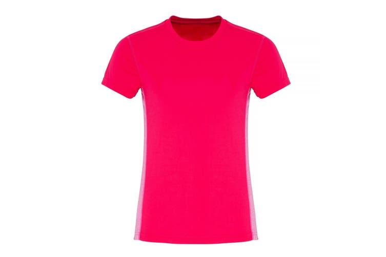 TriDri Womens/Ladies Contrast Panel Performance T-Shirt (Hot Pink/Pink Melange) (L)