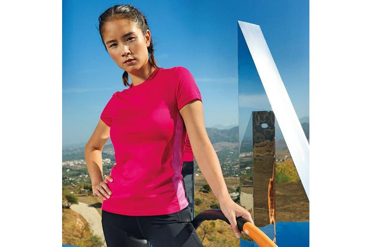TriDri Womens/Ladies Contrast Panel Performance T-Shirt (Hot Pink/Pink Melange) (M)