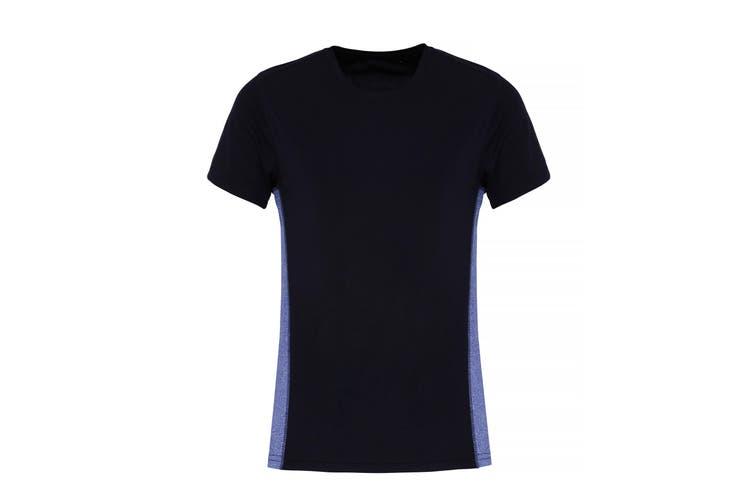 TriDri Womens/Ladies Contrast Panel Performance T-Shirt (Navy/Blue Melange) (L)