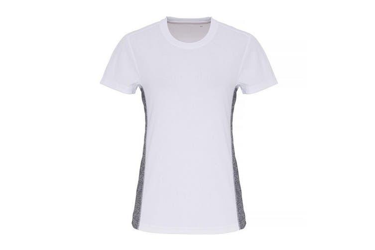 TriDri Womens/Ladies Contrast Panel Performance T-Shirt (White/Black Melange) (XL)