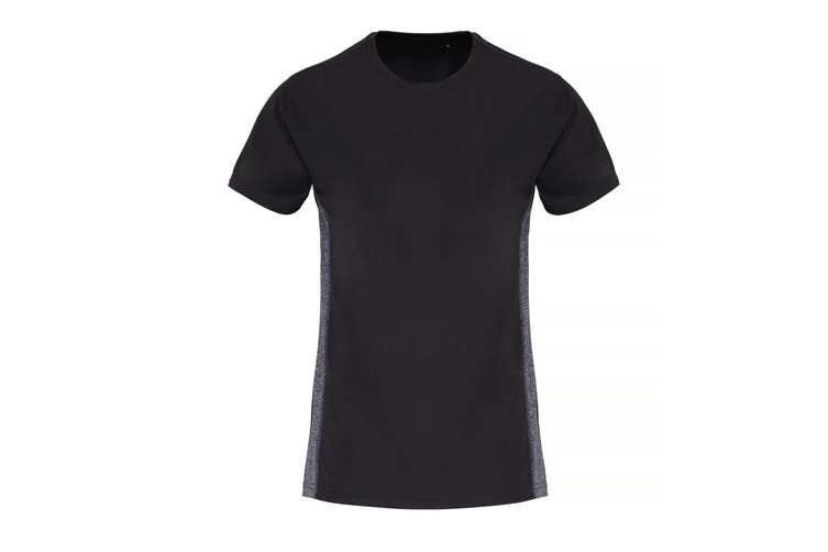 TriDri Womens/Ladies Contrast Panel Performance T-Shirt (Black/Black Melange) (XL)