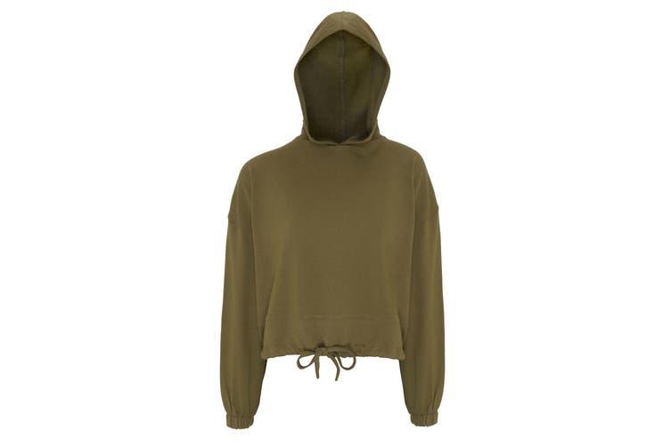 TriDri Womens/Ladies Cropped Oversize Hoodie (Olive Green) (2XL)