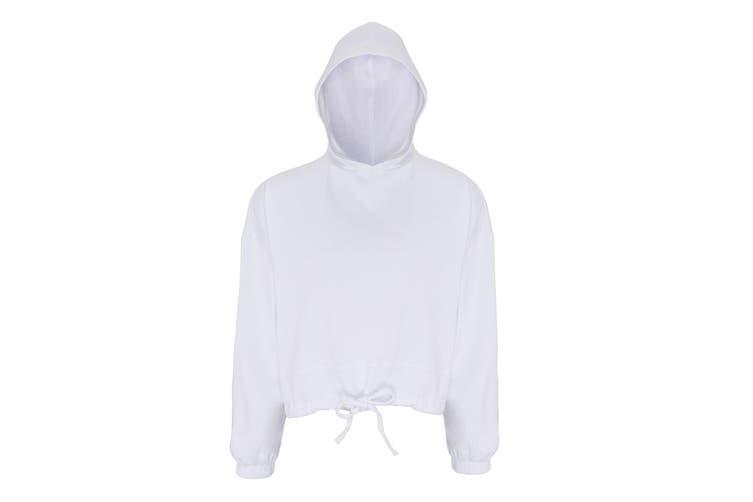 TriDri Womens/Ladies Cropped Oversize Hoodie (White) (S/M)