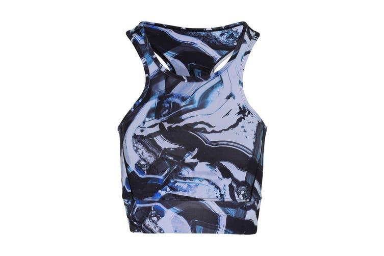 TriDri Womens/Ladies Performance Sports Mid Length Bra (Black/Blue Marble) (M)