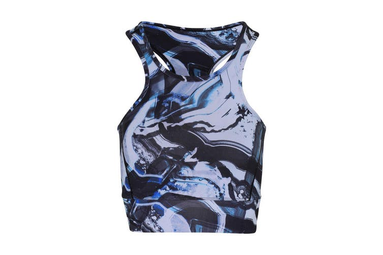TriDri Womens/Ladies Performance Sports Mid Length Bra (Black/Blue Marble) (XS)