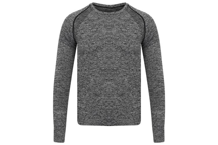 Tombo Mens Seamless Long Sleeved Top (Dark Grey Marl) (M/L)