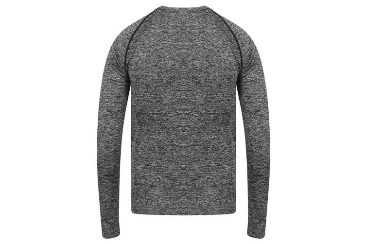 Tombo Mens Seamless Long Sleeved Top (Dark Grey Marl) (XS/S)