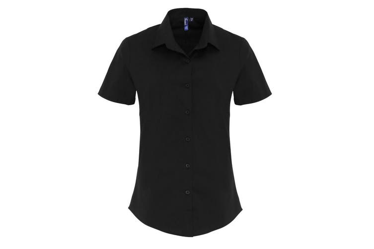 Premier Womens/Ladies Stretch Fit Poplin Short Sleeve Blouse (Black) (2XL)