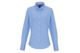 Premier Womens/Ladies Cotton Rich Oxford Stripe Blouse (Light Blue) (L)