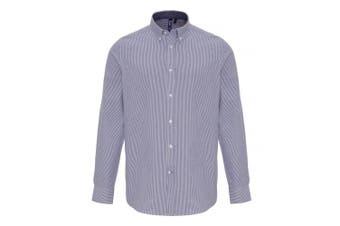 Premier Mens Cotton Rich Oxford Stripe Shirt (White/Navy) (L)