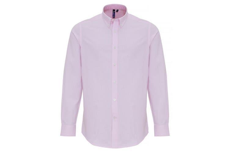 Premier Mens Cotton Rich Oxford Stripe Shirt (White/Pink) (L)