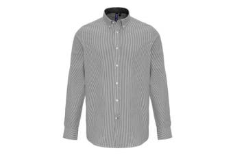 Premier Mens Cotton Rich Oxford Stripe Shirt (White/Grey) (L)