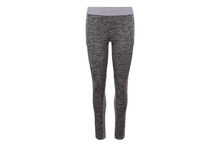 AWDis Just Cool Womens/Ladies Girlie Cool Dynamic Leggings (Grey Melange/Grey) (L)