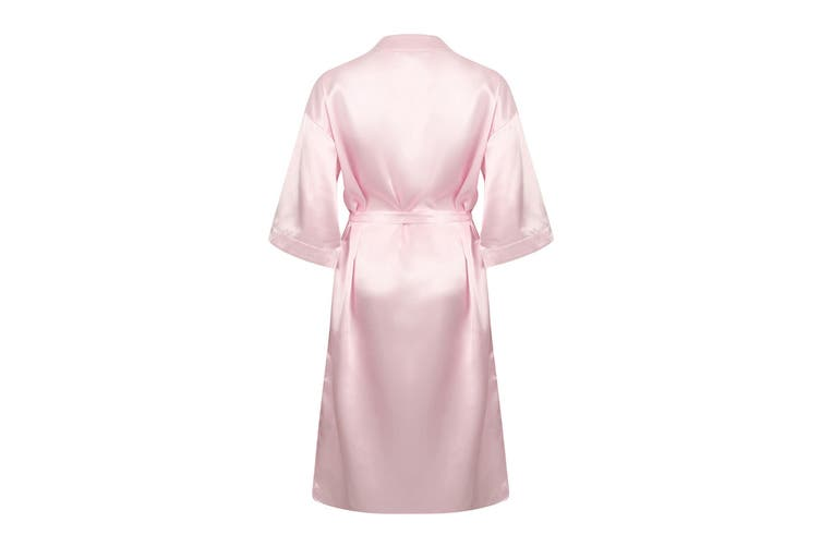 Towel City Womens/Ladies Satin Robe (Light Pink) (8/10 UK)