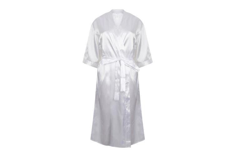 Towel City Womens/Ladies Satin Robe (White) (16/18 UK)