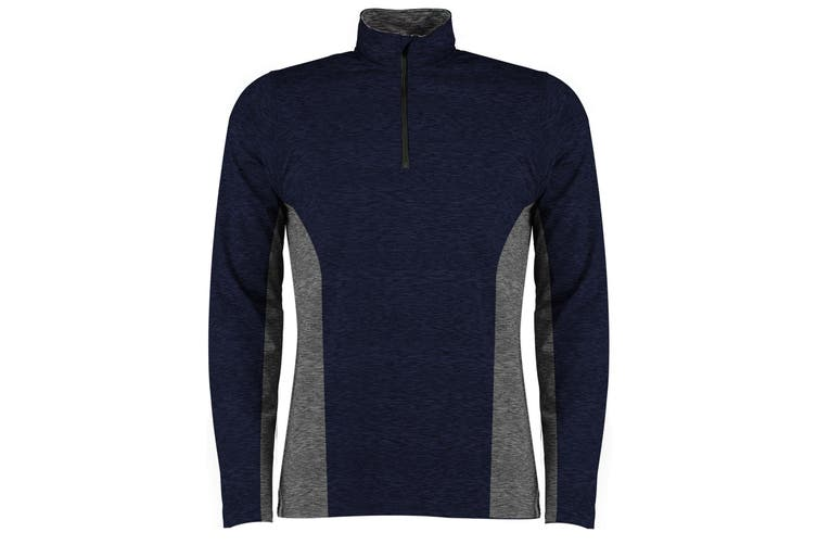 Rhino Mens Jupiter 1/4 Zip Contrast Performance Top (Navy/Grey) (L)