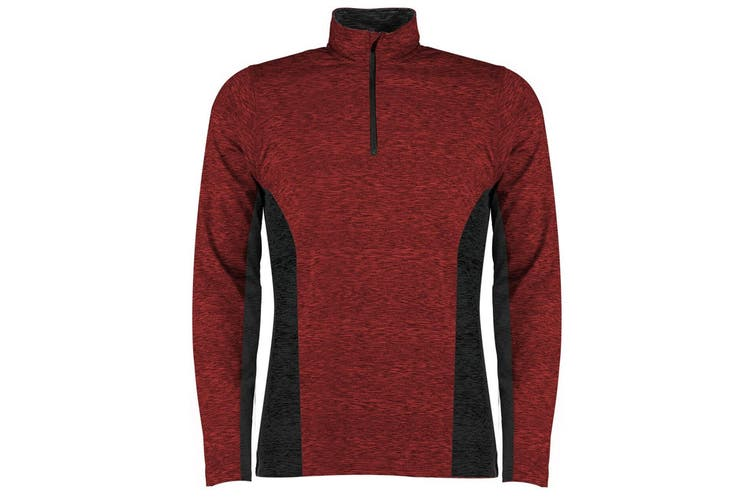 Rhino Mens Jupiter 1/4 Zip Contrast Performance Top (Red/Black) (2XL)