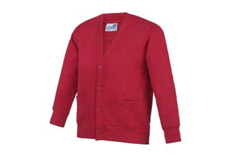 AWDis Academy Childrens/Kids Button Up School Cardigan (Pack of 2) (Red) - UTRW6679