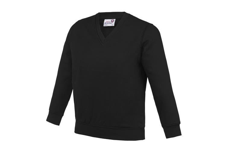 AWDis Academy Childrens/Kids Junior V Neck School Jumper/Sweatshirt (Pack of 2) (Black) (7-8 Years)