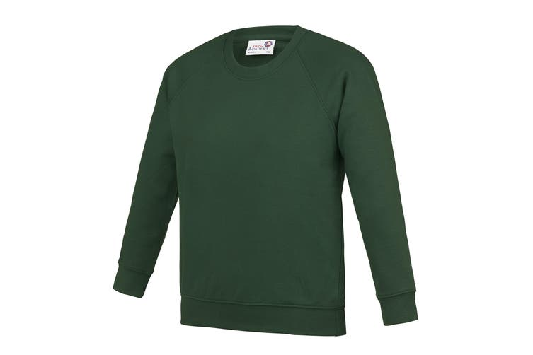 AWDis Academy Childrens/Kids Crew Neck Raglan School Sweatshirt (Pack of 2) (Emerald) (3-4 Years)