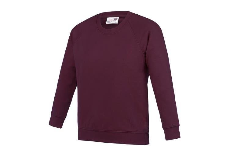 AWDis Academy Childrens/Kids Crew Neck Raglan School Sweatshirt (Pack of 2) (Burgundy) (13 Years)