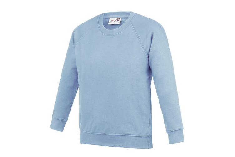AWDis Academy Childrens/Kids Crew Neck Raglan School Sweatshirt (Pack of 2) (Sky) (11-12 Years)