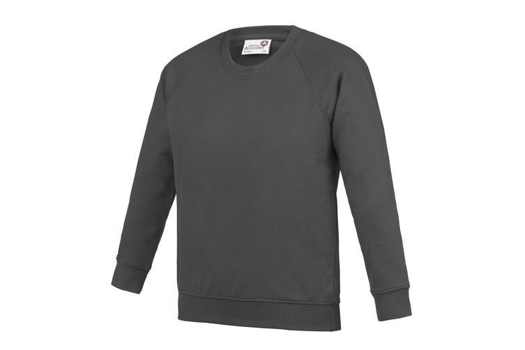 AWDis Academy Childrens/Kids Crew Neck Raglan School Sweatshirt (Pack of 2) (Charcoal) (3-4 Years)