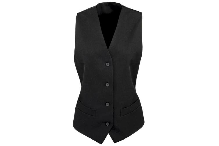 Premier Womens/Ladies Lined Polyester Waistcoat / Bar Wear / Catering (Pack of 2) (Black) (2XL)