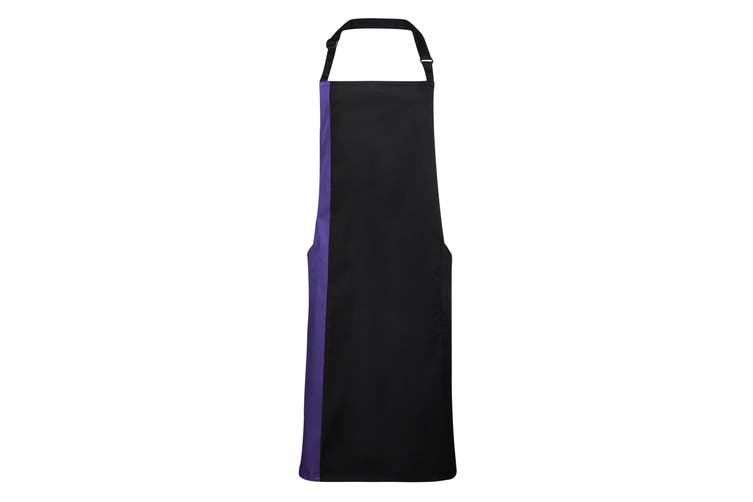 Premier Unisex Contrast Workwear Bib Apron (Pack of 2) (Black/ Purple) (One Size)
