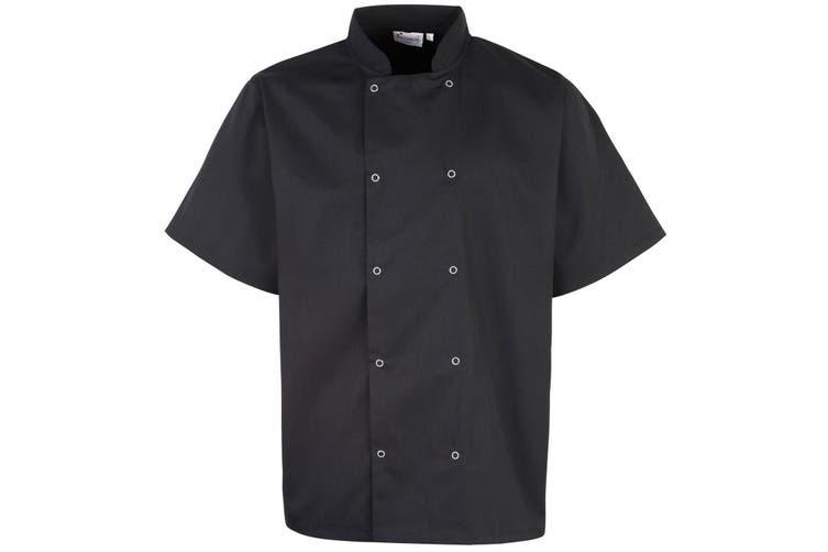 Premier Unisex Studded Front Short Sleeve Chefs Jacket (Pack of 2) (Black) (L)