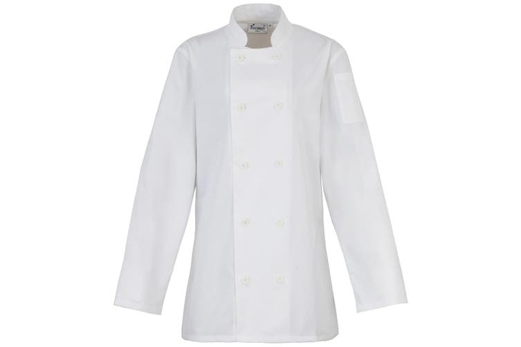 Premier Womens/Ladies Long Sleeve Chefs Jacket / Chefswear (Pack of 2) (White) (L)