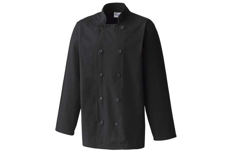 Premier Unisex Chefs Jacket (Pack of 2) (Black) (XXL)